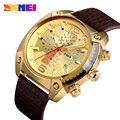SKMEI Топ бренд Роскошные мужские часы модные повседневные кварцевые часы 3 бар водонепроницаемые с большим циферблатом светящиеся указки ...