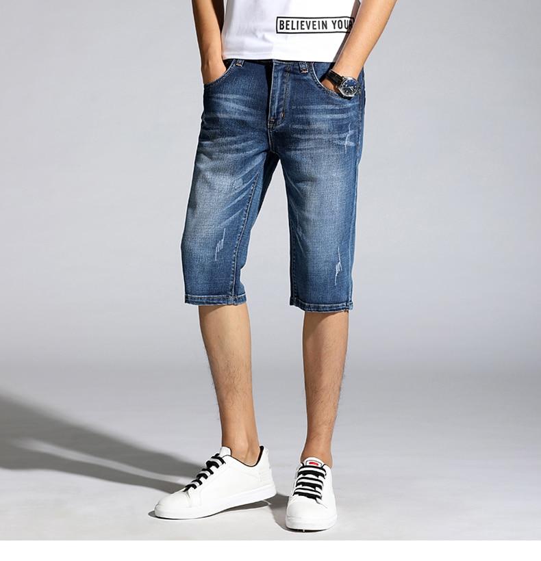 KSTUN Summer Shorts Jeans for Men New Arrivals Elastic Blue Scratched Fashion Pockets Denim Shorts Jeans Man Slim Fit Casaul Shorts 13