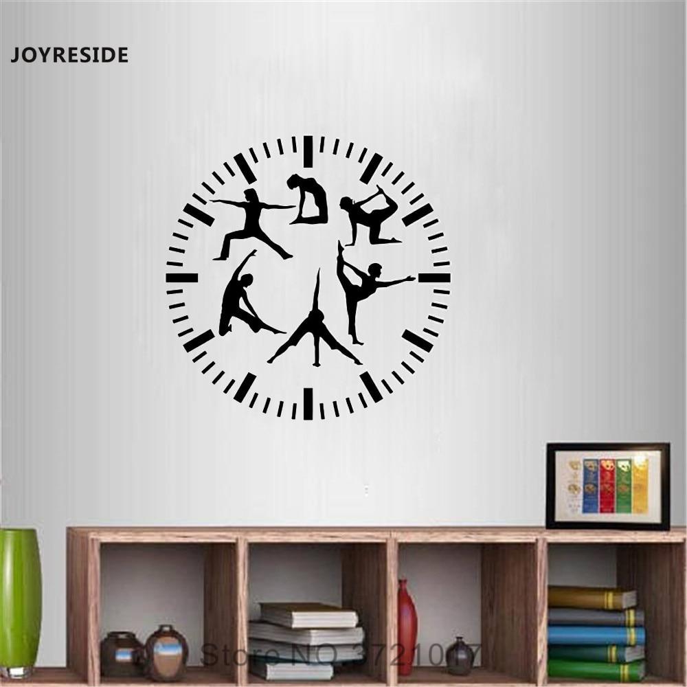 Joyreside Fitness Clock Wall Decal Vinyl Sticker Sports For Gym Yoga