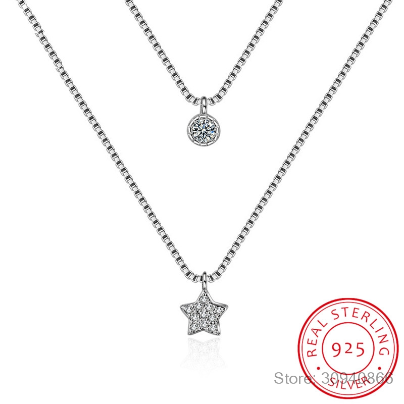 New Arrival 925 Sterling Silver Double Layers Necklace With Star Pendent Collarbone Necklace Chain For Women & Girl Jewelry