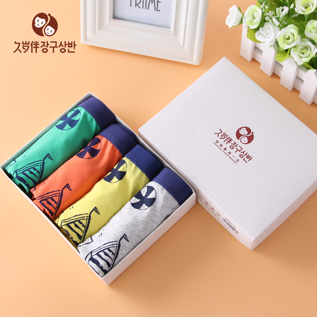1dc3bd405b 4 pieces a gift box underwear for boy kid s boxer brief children board  shorts undies teen panties kids lingerie 6014 6015