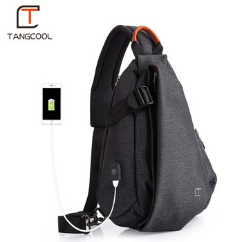 Tangcool Men Casual USB Charging Messenger Bag Fashion Men Shoulder Travel Chest Bag Pack Anti Theft Crossbody bags