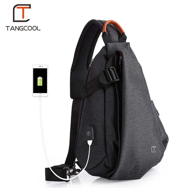 Tangcool Men Casual USB Charging Messenger Bag Fashion Men Shoulder Travel Chest Bag Pack Anti Theft Crossbody bags