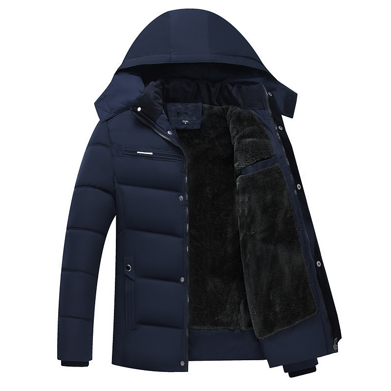 Hooded-Coats Down-Jacket Slim Winter Parka Casual New Male Thick Cotton XL-4XL Fleece