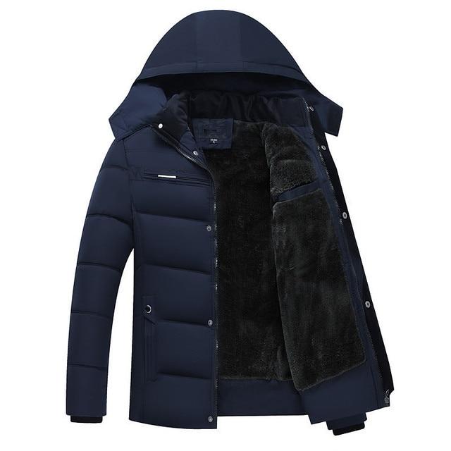 Erkek Kış Kalın Polar Aşağı Ceket Yeni 2018 Kapşonlu Palto Rahat Kalın Aşağı Parka Erkek Ince Rahat Pamuk yastıklı Mont XL 4XL