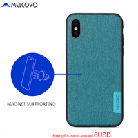 Original MELEOVO Brand Elegant Cloth Pattern Magnetic Back Case For IPhone X Luxury Leather Hard PC