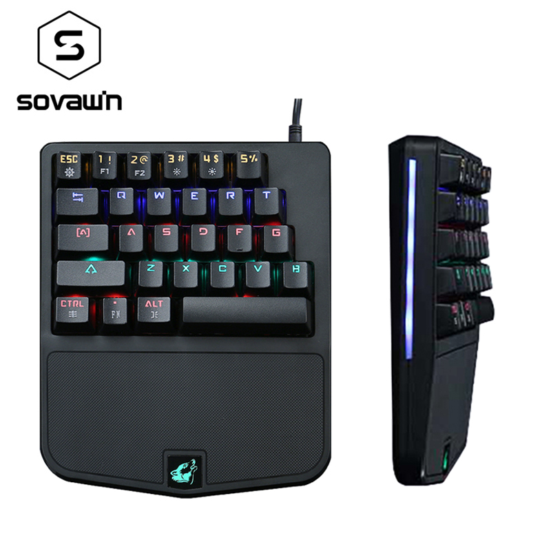USB Wired Mini Mechanical Keyboard Gaming RGB Blue Switches Keyboard Single Hand 9 Colors LED Backlit Waterproof For PC Desktop