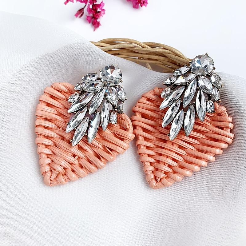 Heart Rattan knit Wooden Drop Earrings Vintage Handmade color Crystal Bee Dangle Earrings Statement 2019 Women Jewelry Wholesale
