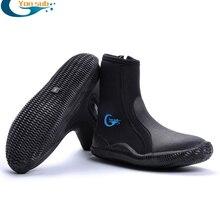 YONSUB неопреновые ботинки для дайвинга, 5 мм, с высоким верхом, Нескользящие, для взрослых, для дайвинга, теплые ласты, обувь для подводной охот...