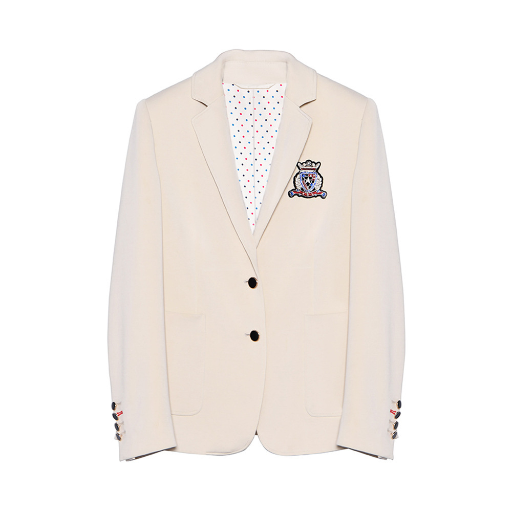 2019 Early Spring New Knitted Lapel Badge Small Suit Casual Coat Button  Single Breasted Women Jackets And Coats Suit