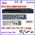 4/8CH 1080P AHD DVR for AHD H M 960H D1 camera ONVIF NVR 8Channel for 2MP/1MP Network IPC H.264 Mini DVR P2P ip camera recorder