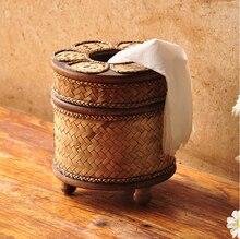 Creative Retro Wooden Napkin Holder Tissue Box Bamboo Reel Spool Desktop Paper Storage Boxes Trump Towel 6ZJ043