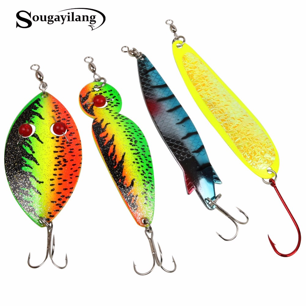 Sougayilang 4pcs Spinner Spoon Fishing Lure Metal Sequins with Treble Hook Artificial Bait Paillette Fishing Tackle Pesca Isca goture 96pcs fishing lure kit minnow popper spinner jig heads offset worms hook swivels metal spoon with fishing tackle box