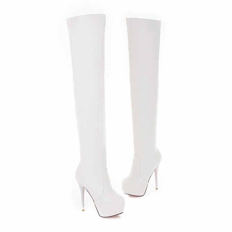 ASUMER büyük boy 34-46 diz çizmeler üzerinde platformu bayan ayakkabıları kadın botları seksi ince yüksek topuklu ayakkabılar uyluk yüksek çizmeler 2020