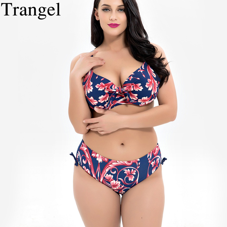 Trangel 2018 Sexy Push Up Bikinis Women Retro Print Swimsuit Large Sizes Swimwear Big Chest Bathing Suit Maillot De Bain Femme стоимость