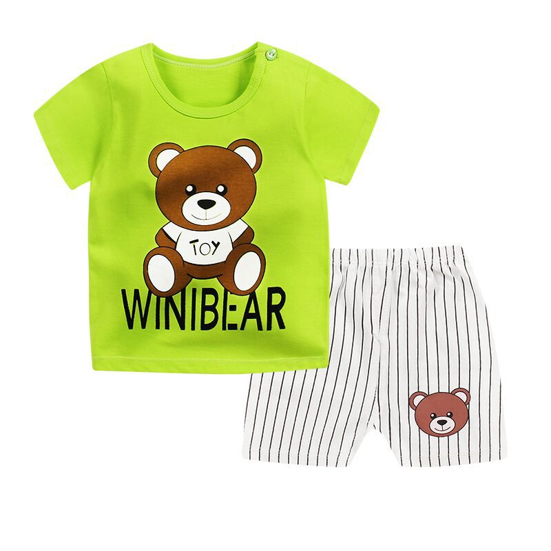 2020 New Summer Children's Sets Cotton Baby Short Sleeve Clothing Set  Baby Boys And Girls Body Suit Cartoon Kids Clothing Set