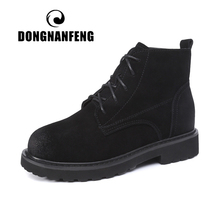 DONGNANFENG Women Nubuck Casual Female Mother Ladies Cow Suede Genuine Leather Plush Pigskin Warm Winther Size 35-40 LCZ-818