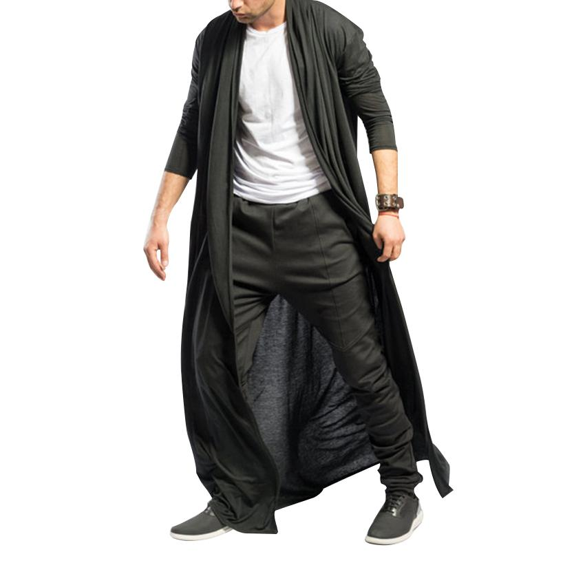 Men Trench Coat Streetwear Short Sleeve Casual Long Cardigan Solid Color Cool Fashion Men Windbreaker Long Outerwear Clothes