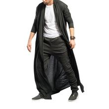 Men Trench Coat Streetwear Short Sleeve Casual Long Cardigan