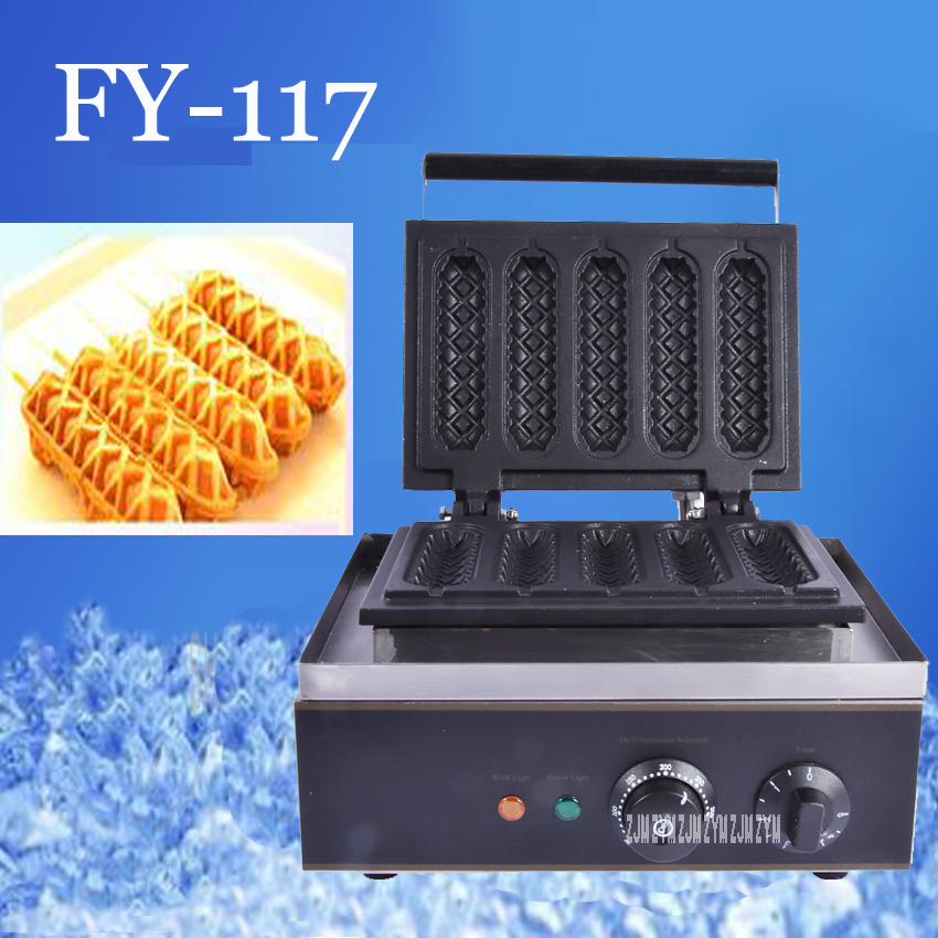1PC Electrical Lolly Waffle Hot Dog Machine with 5 pcs Molds 110v 220v Stick Waffle Maker Great Snack Machine lolly waffle baker commercial snack machine stainless steel tower shaped lolly waffle machine with six pcs lolly waffle moulds