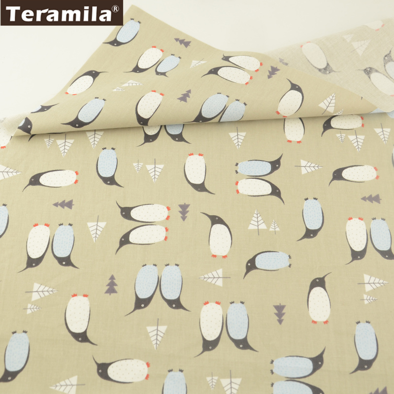 Teramila Cotton Fabric <font><b>News</b></font> Printed Cartoon Penguin Designs Grey Tissue Clothing Sewing Patchwork Quilting Decoration Tecido image