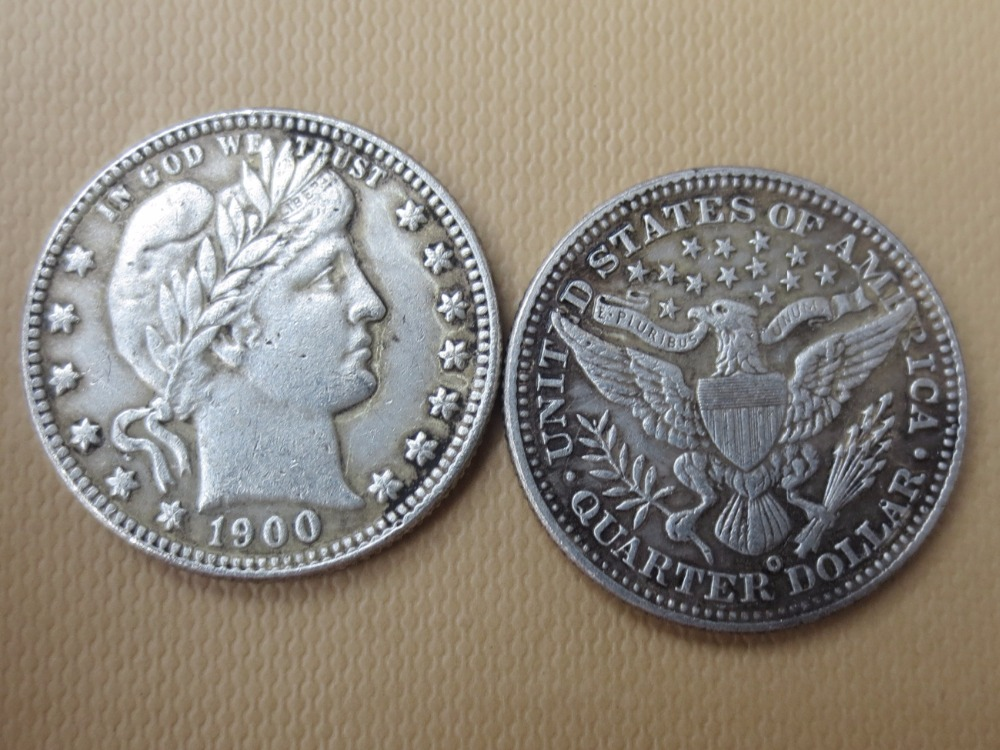 90% silver or silver plated U.S. Coins 1900-O Barber Quarter Dollars Wholesale High Quality USA Copy Coins
