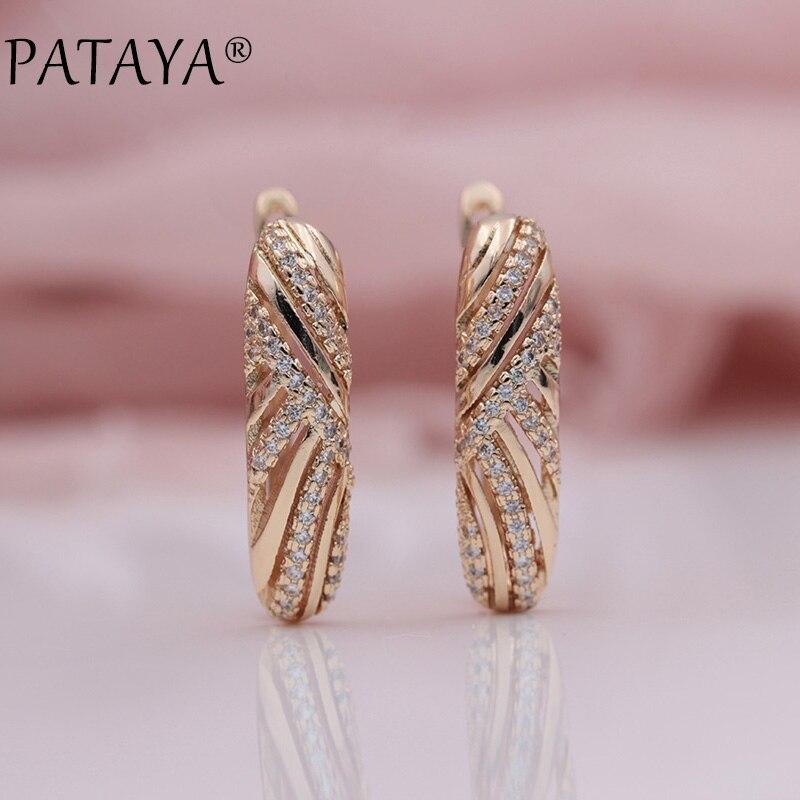 PATAYA Neue 585 Rose Gold Micro-wachs Inlay Weiß Natürliche Zirkon Kreuz Baumeln Ohrringe Frauen Hochzeit Luxus Feine schmuck