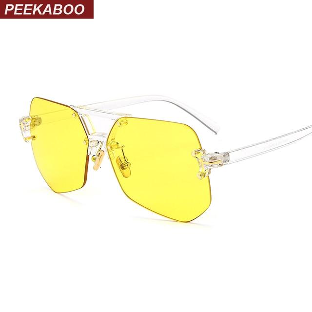 02b028a2bc6a8 Peekaboo azul lente amarela óculos de sol dos homens quadro transparente  irregular rosa sem aro óculos