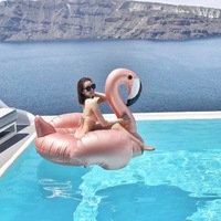Flamingo Pool Float 150CM Party Water Rose Gold Giant Inflatable Toy Pink Cute Boia Tube Ride On Swim Ring For Holiday Fun Party