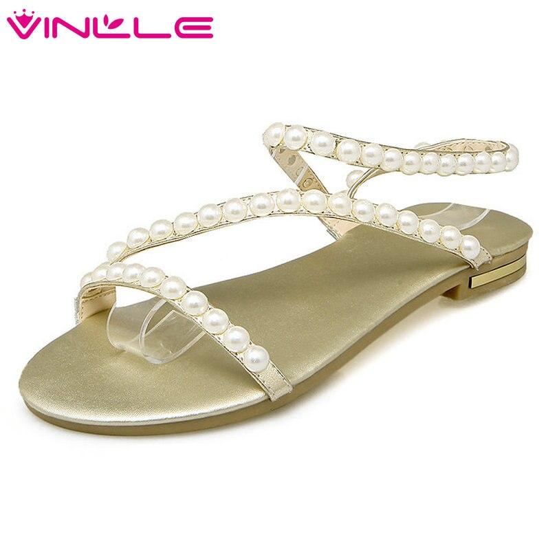 VINLLE 2018 Chaussures D'été Femmes Sandales Femme En Cuir Véritable Carré Bas Talon Slingback Dames De Mariage Plage Chaussures Taille 34- 43