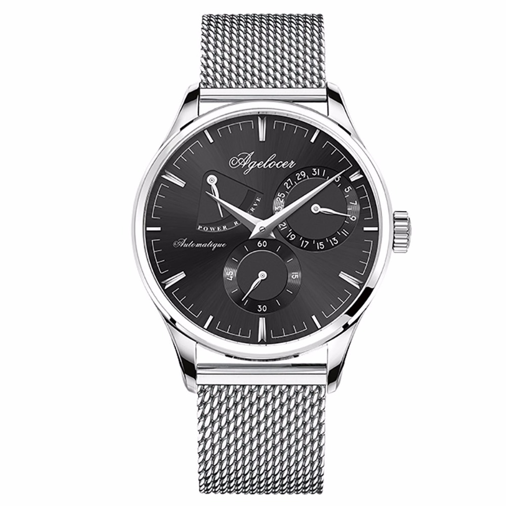 Agelocer Brand Designer Watches for Men Ultra Thin Bracelet Watches Calendar Steel Analog Automatic Watches 4102A9Agelocer Brand Designer Watches for Men Ultra Thin Bracelet Watches Calendar Steel Analog Automatic Watches 4102A9