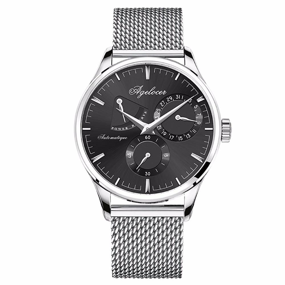 Agelocer marque Designer montres pour hommes Ultra mince Bracelet montres calendrier en acier analogique montres automatiques 4102A9Agelocer marque Designer montres pour hommes Ultra mince Bracelet montres calendrier en acier analogique montres automatiques 4102A9