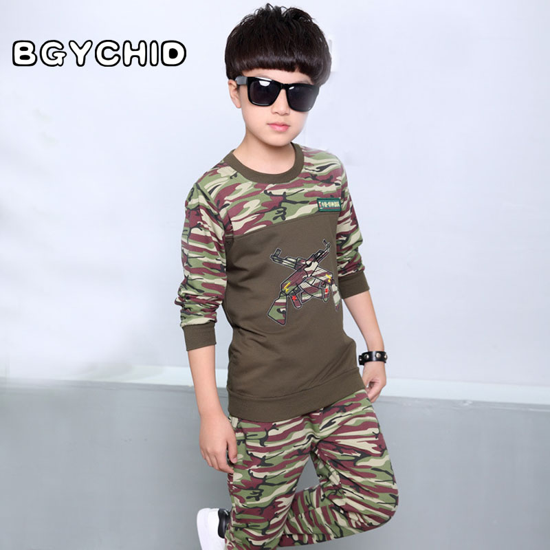 887c9b492c1b Boys Cool Fashion Camouflage Clothing Set Kids Military Uniform ...