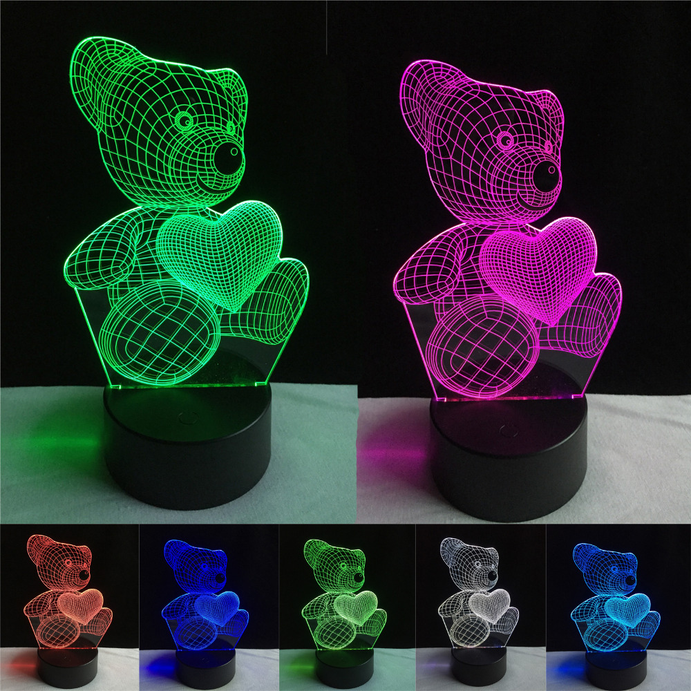 Top-Quality Christmas Gifts USB Little Lovely Heart Bear 3D Atmosphere Lamp Girls Baby Bedroom LED Touch Illusion Night Light crooked little heart