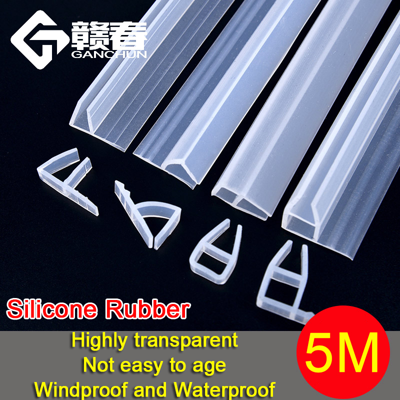 5M Silicone Rubber Window Sealing F U h Corner Shape Door Weather Strip Draft Stopper For Shower Room Acoustic Panel 6/8/10/12mm