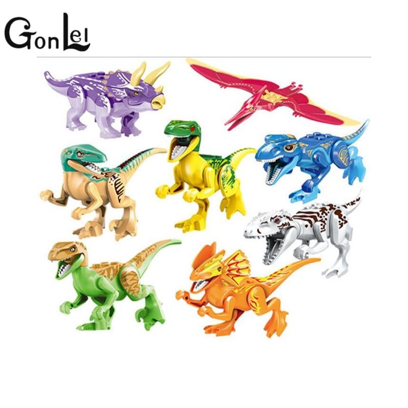 GonLeI 77021 8pcs Sets Model Dino World Dinosaur Bricks Building Blocks Super Heroes Action Bricks Toys Childrens toys