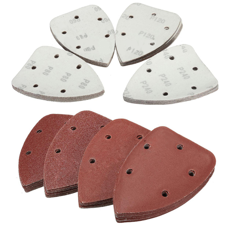 40pcs 5 Holes Sanding Tools Triangle Sander Sheets Pads Sandpaper 60/80/120/240 Grits For Grinding Tool