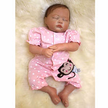 Curved Mohair 20 Inch Reborn Babies Girl Silicone Sleeping Doll Toy Lifelike Cloth Body Baby With Monkey Clothes For Collection