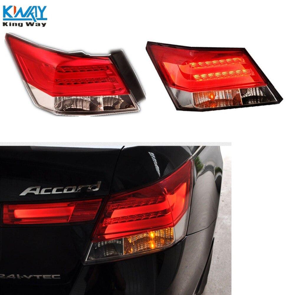 Kw rear led brake tail lights for 2008 2012 honda accord lh rh