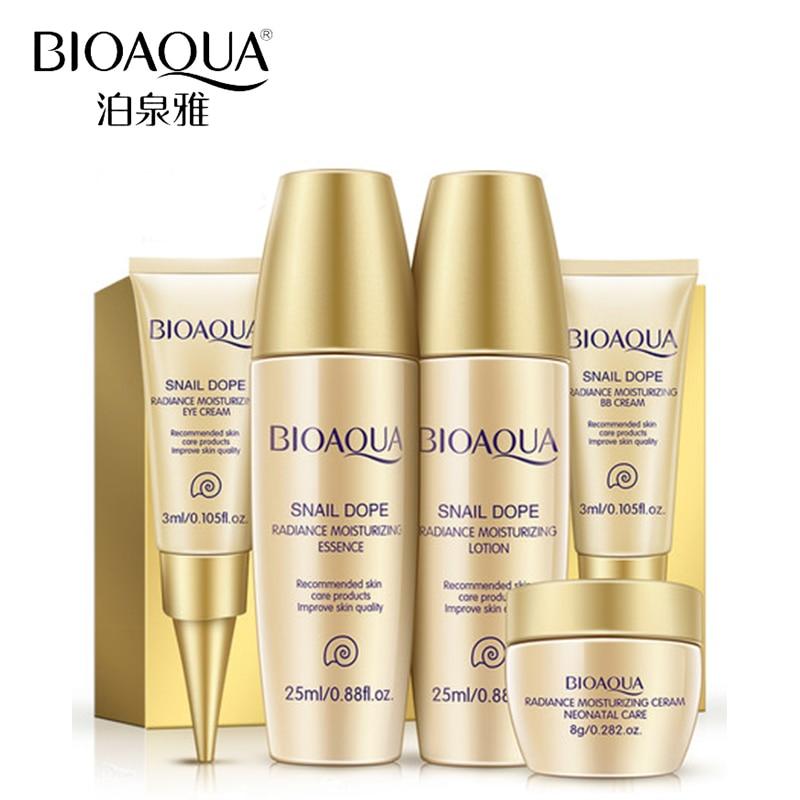 BIOAQUA Luxury Set 5pcs Skin Care Whitening Moisturizing Face Cream Anti Wrinkle Aging Eye Cream Nude
