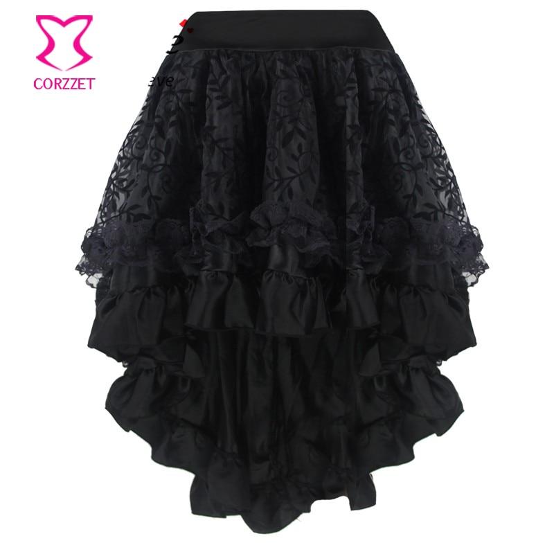 Plus Size Black Vine Flocking Tulle and Ruffled Satin Asymmetrical Victorian Gothic Skirt Short Front Long Back Skirts Womens