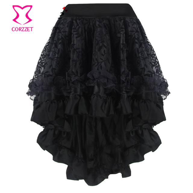 70ddae37af Plus Size Black Vine Flocking Tulle and Ruffled Satin Asymmetrical  Victorian Gothic Skirt Short Front Long Back Skirts Womens-in Skirts from  Women's ...