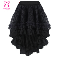 Plus Size Black Vine Flocking Tulle and Ruffled Satin Asymmetrical Victorian Gothic Skirt Short Front Long Back Skirts Womens