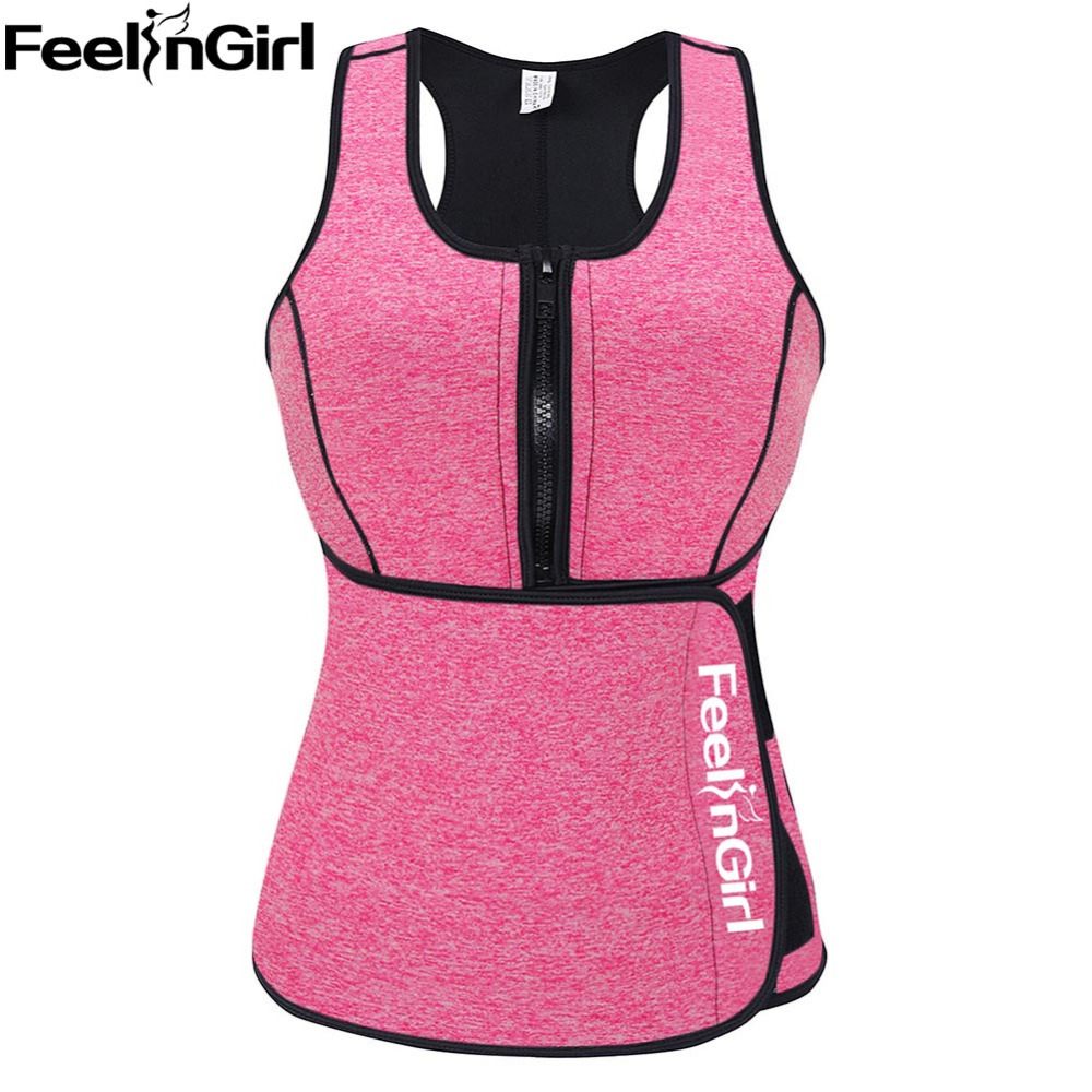 FeelinGirl Neoprene Sauna Vest Hot Body Shaper Slimming Waist Trainer Corset Workout font b Shapewear b