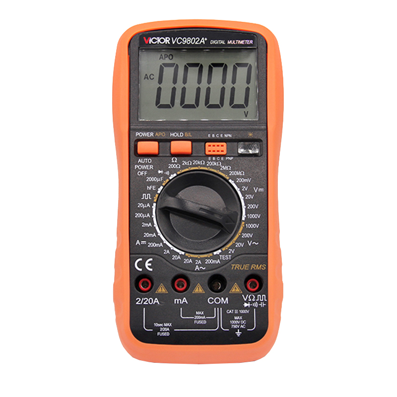 Digits Multimeter  2000 Counts Victor VC9802A+ AC DC Voltmeter Capacitance Resistance digital Ammeter Multitester vc99 auto range 3 6 7 digital multimeter 20a resistance capacitance meter voltmeter ammeter alligator probe thermal couple tk
