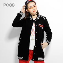 PASS 2017 New Arrival Fashion Women Jacket Long Sleeve Striped Hip Hop Jacket Letter Print Button Casual Loose Jacket