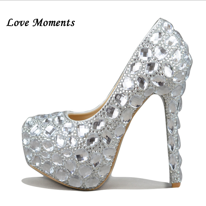 40a49320a5de Love Moments crystal rhinestone women wedding shoes Silver bridal shoes big  size 41-43 high-heel shoes Ladies platform shoes