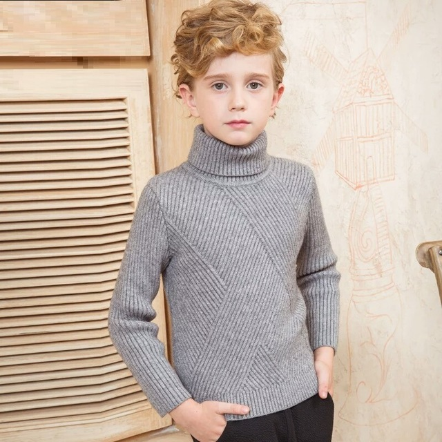 Boys Turtleneck Cashmere Sweater 2018 Spring Autumn Children