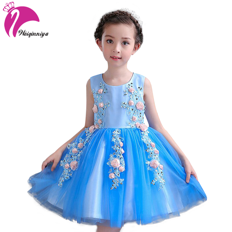 Girls Princess Dresses Summer 2017 Fashion Children Floral Weeding Party Dress Casual Beading Vestido Infantil Kids Clothes Hot stuffed animal 44 cm plush standing cow toy simulation dairy cattle doll great gift w501