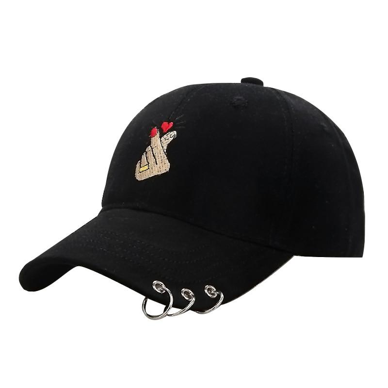 Cap   Women 2018 Fashion Finger Embroidery Metal Ring   Baseball     Cap   Adjustable Bone   Cap   Breathable Hiking Hats Snapback W2